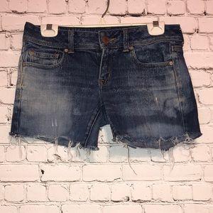 AEO Blue Distressed Denim Cutoff Shorts